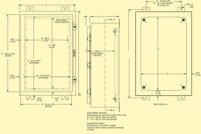 SCE_Wall-1door Enclosure Diagram